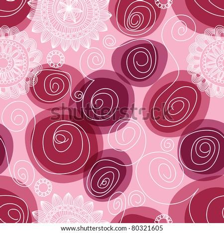 Flowers and swirls seamless pattern - stock vector