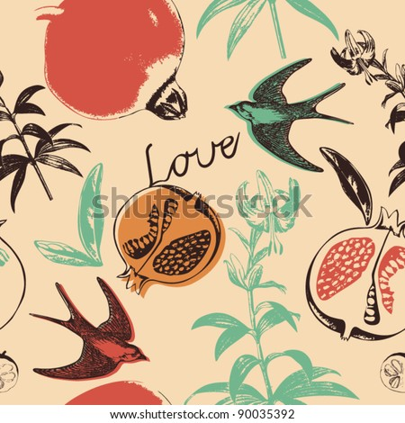 flowers, birds and fruits - stock vector