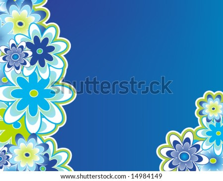 Flowers bordering left and bottom right. - stock vector