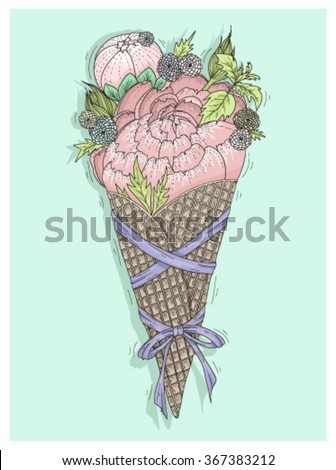 Flowers bouquet in ice cream cone with ribbon. Floral vector illustration. - stock vector