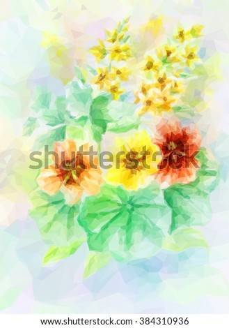 Flowers Bouquet, Polygonal Low Poly Colorful Pattern. Vector - stock vector