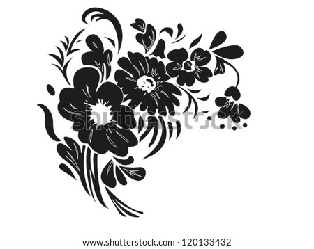 Flowers. Bouquet silhouette isolated on white background. Vector illustration. - stock vector