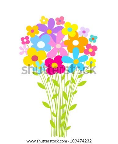 Flowers bouquet. Vector illustration - stock vector