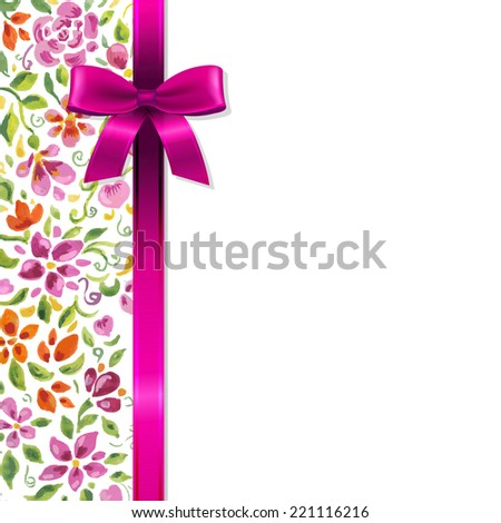 Flowers Card With Ribbon, With Gradient Mesh, Vector Illustration - stock vector