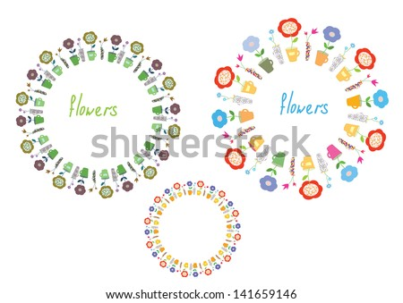 Flowers circle frames set - pots and vases - stock vector