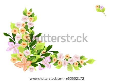 Flowers Corner Border Floral Design Element For Embroidery Wrapping Card Soft Flowery
