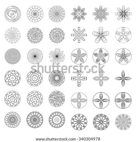 flowers design element for coloring page book hipster geometrical circular flowers floral design elements