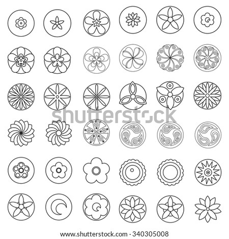 Hipster Coloring Book Flowers Design Element Page Stock Vector 340305008