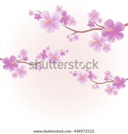 Flowers design. Flowers background. Apple tree flowers. Branches of sakura with Purple flowers isolated on Light Pink Purple color background. Cherry blossom branches. Vector