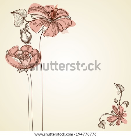 Flowers design for greeting cards - stock vector