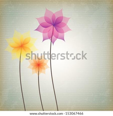 flowers design over beige background vector illustration - stock vector