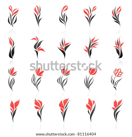 Flowers. Elements for design. Vector logo template set. - stock vector