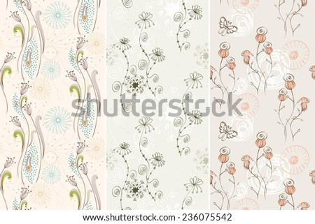 Flowers fantasy. Vector cute floral seamless pattern . - stock vector