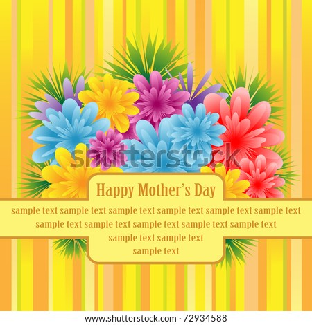 Flowers for mothers day, anniversary or birthday celebration set on a striped background. Copy space for text. Raster also available.