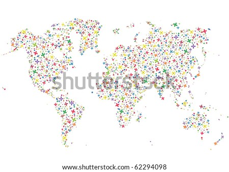 flowers forming a map of the Earth - stock vector