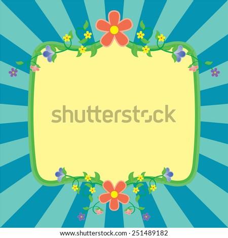 flowers frame spring vector - stock vector