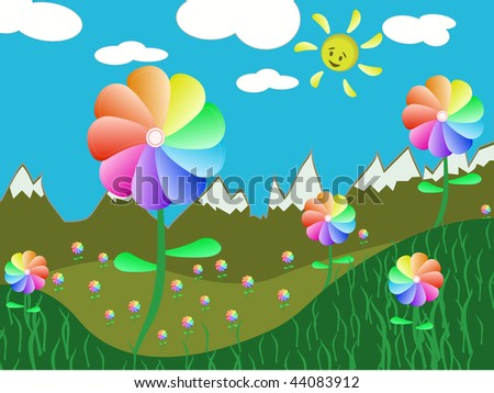 flowers, grass and sun. vector illustration