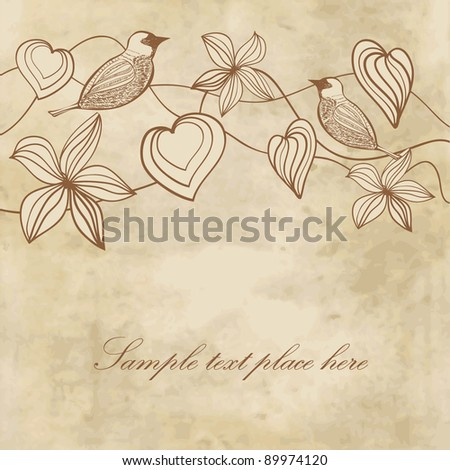 Flowers, hearts and birds on vintage paper background - stock vector