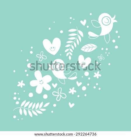flowers, hearts, birds love nature illustration - stock vector