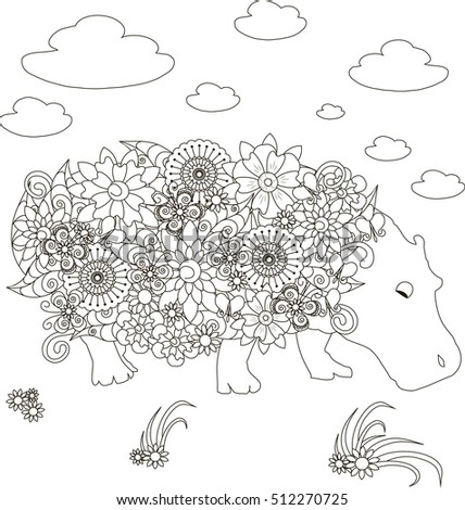 flowers hippo coloring page anti stress vector illustration - Hippo Coloring Page