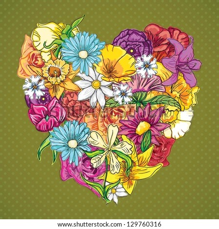Flowers Icons (My heart has bloomed) . On vintage background. Vector Illustration - stock vector