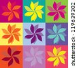 Flowers Icons, pop art colors, vector illustration - stock vector