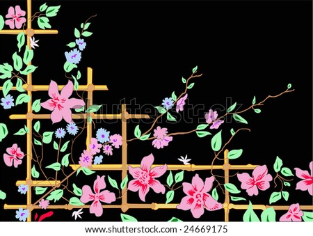 Flowers in bamboo branches - stock vector