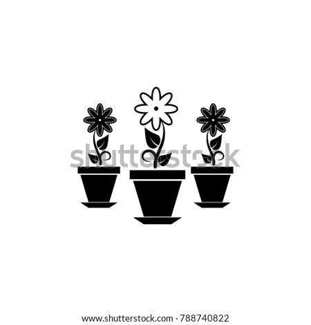 Flowers In Pots Icon. Garden Elements. Premium Quality Graphic Design Icon.  Simple Love
