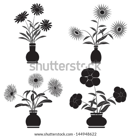 Flowers in pots vector set - stock vector