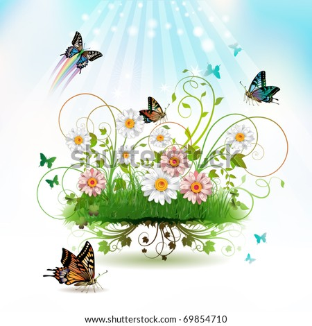 Flowers in the grass and butterflies - stock vector