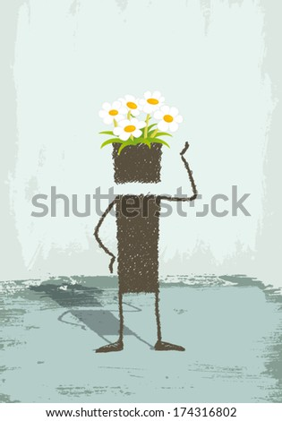 Flowers in the head. A person is standing. In his head grow flowers. A conceptual illustration about creativity, imagination. Or a symbol of a respectful person with the environment. EPS8 Illustration - stock vector