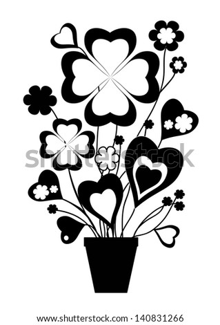 Flowers in the pot - stock vector