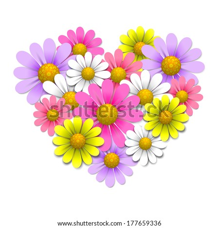 Flowers in the shape of heart, design elements, vector illustration - stock vector