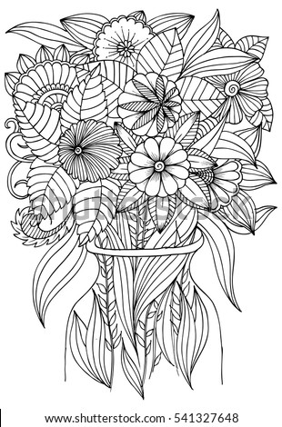 Flowers Vase Art Therapy Coloring Book Stock Vector