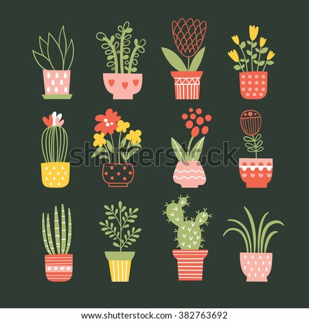 flowers in vases. Vector collection  - stock vector