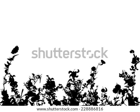 Flowers, leaves and grass silhouettes backgrounds - stock vector