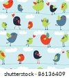 Flowers, leaves and love birds seamless pattern - stock vector