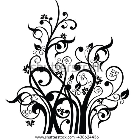 Flowers, leaves and swirls design element silhouette in black. This image is a vector illustration. - stock vector