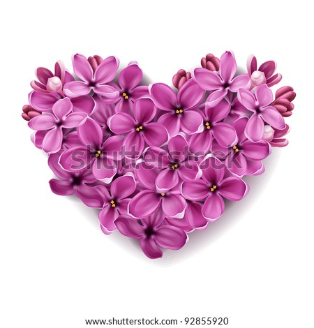 Flowers of a lilac in the form of a heart. An illustration on a theme of Valentine's day. - stock vector