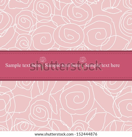 flowers on a pattern background with pink - stock vector