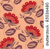 Flowers on a peach background. Floral design, in vintage style. Seamless pattern. - stock photo