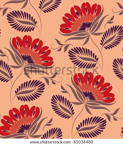 Flowers on a peach background. Floral design, in vintage style. Seamless pattern. - stock vector