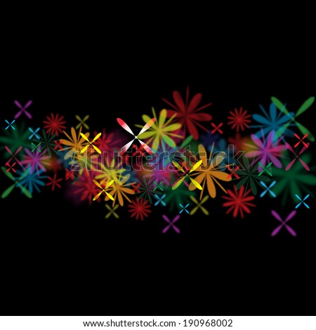 flowers on black background vector illustration