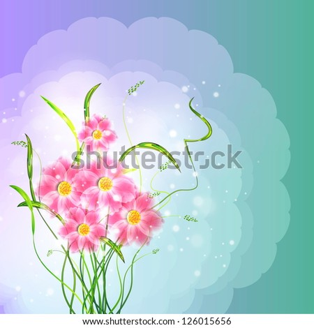 Flowers on bright a background