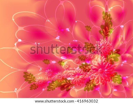 Flowers on pink and orange  background with web, dew and stars. EPS10 vector illustration  - stock vector