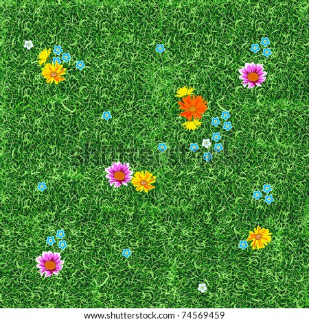 Flowers on the lawn.  Seamless. - stock vector