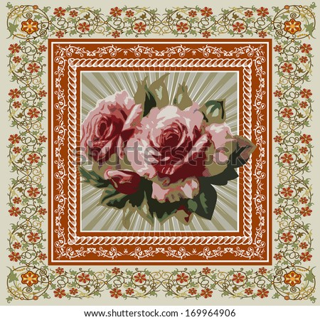 Flowers. Roses. Beautiful background with a flower ornament. Bouquets from flowers.