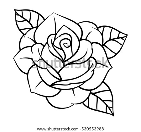 Flowers roses black and white isolated on white background vector illustration