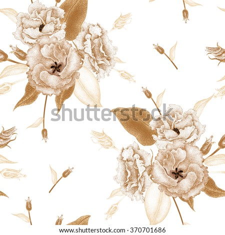 Flowers roses on a white background. Vector seamless pattern. Floral design in oriental style. Vintage. Black white and gold. Beautiful bouquets flowers roses gold foil printing. - stock vector