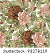 Flowers. Roses. Vector. Beautiful background with a flower ornament. - stock vector